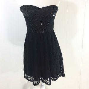 Wet Seal Dress Sz M Sequin Black Stretch Strapless